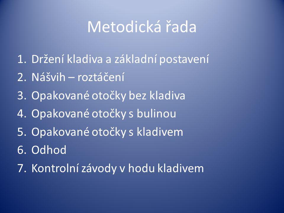 Metodická řada 1.Držení kladiva a základní postavení 2.Nášvih – roztáčení 3.Opakované otočky bez kladiva 4.Opakované otočky s bulinou 5.Opakované otoč