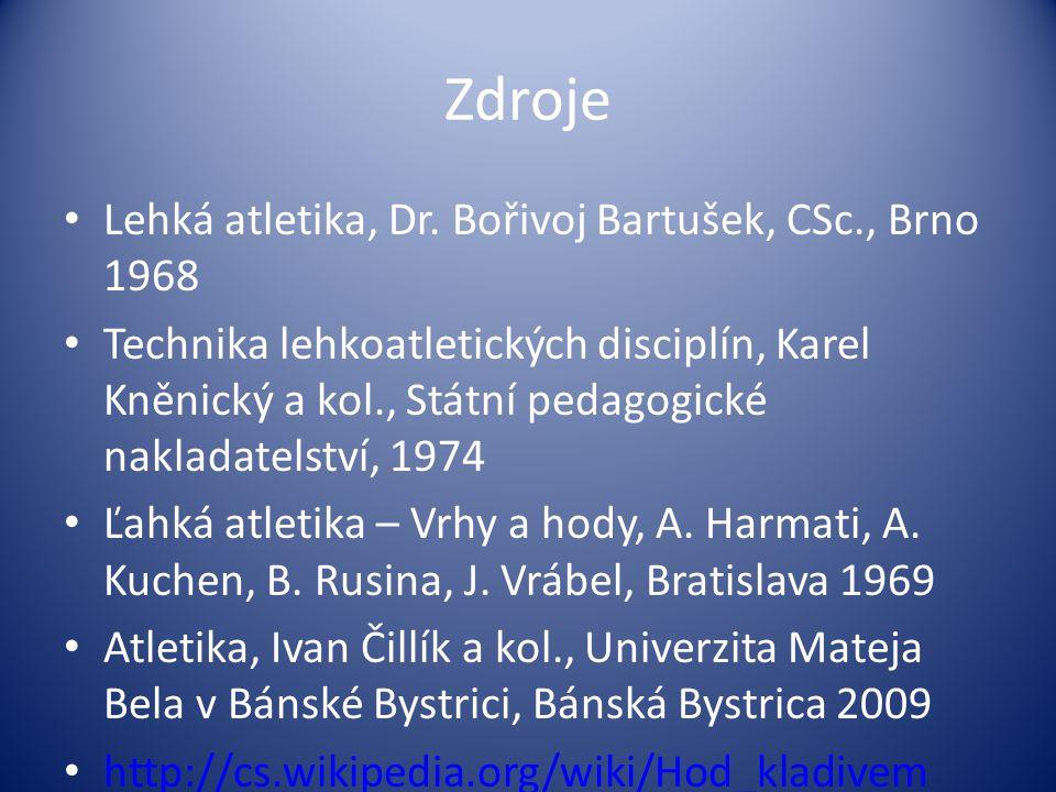 Zdroje Lehká atletika, Dr. Bořivoj Bartušek, CSc., Brno 1968 Technika lehkoatletických disciplín, Karel Kněnický a kol., Státní pedagogické nakladatel