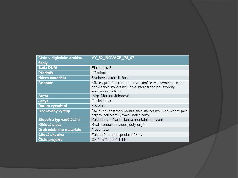 Číslo v digitálním archivu školy VY_52_INOVACE_P8_07 Sada DUMPřírodopis 8 Předmět Přírodopis Název materiáluSvalový systém II. část Anotace Žák se v p
