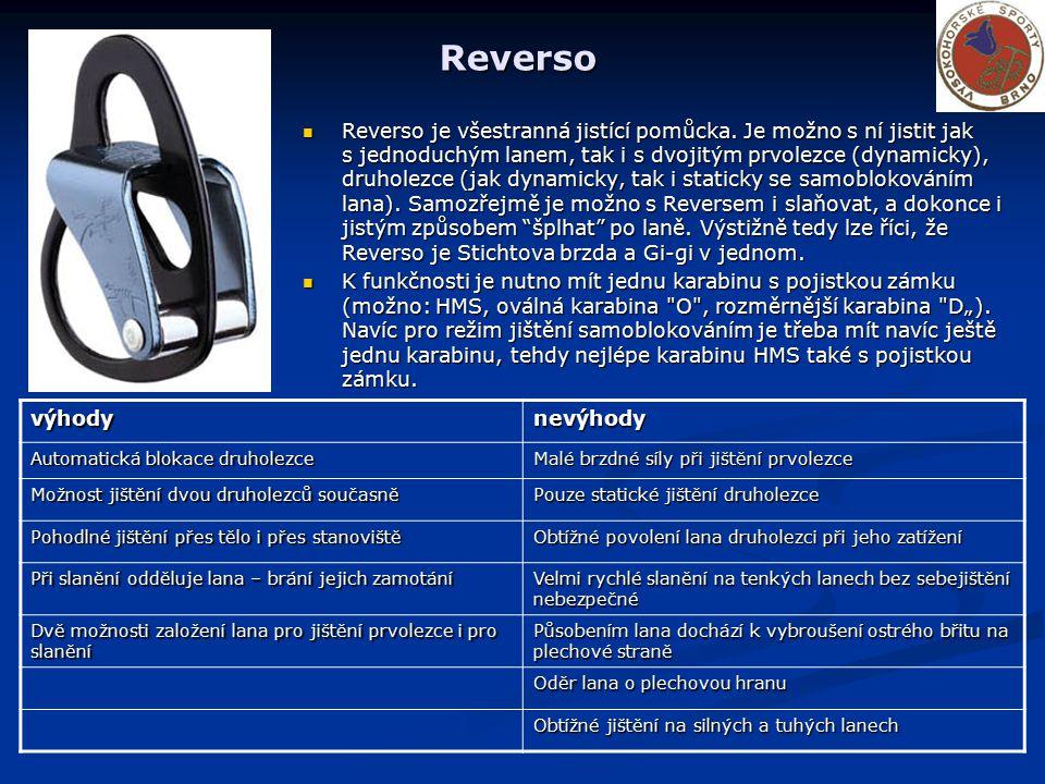 Reverso Reverso je všestranná jistící pomůcka. Je možno s ní jistit jak s jednoduchým lanem, tak i s dvojitým prvolezce (dynamicky), druholezce (jak d