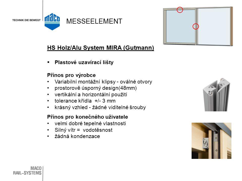  Plastové uzavírací lišty Přínos pro výrobce Variabilní montážní klipsy - oválné otvory prostorově úsporný design(48mm) vertikální a horizontální použití tolerance křídla +/- 3 mm krásný vzhled - žádné viditelné šrouby Přínos pro konečného uživatele velmi dobré tepelné vlastnosti Silný vítr = vodotěsnost žádná kondenzace HS Holz/Alu System MIRA (Gutmann) MESSEELEMENT
