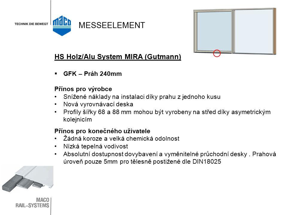  GFK – Práh 240mm Přínos pro výrobce Snížené náklady na instalaci díky prahu z jednoho kusu Nová vyrovnávací deska Profily šířky 68 a 88 mm mohou být