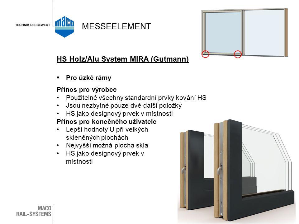  Pro úzké rámy Přínos pro výrobce Použitelné všechny standardní prvky kování HS Jsou nezbytné pouze dvě další položky HS jako designový prvek v místnosti Přínos pro konečného uživatele Lepší hodnoty U při velkých skleněných plochách Nejvyšší možná plocha skla HS jako designový prvek v místnosti HS Holz/Alu System MIRA (Gutmann) MESSEELEMENT