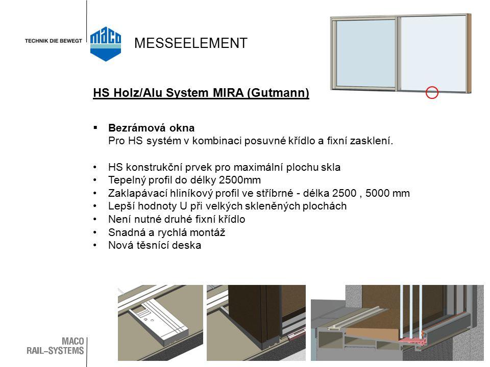  Bezrámová okna Pro HS systém v kombinaci posuvné křídlo a fixní zasklení. HS konstrukční prvek pro maximální plochu skla Tepelný profil do délky 250