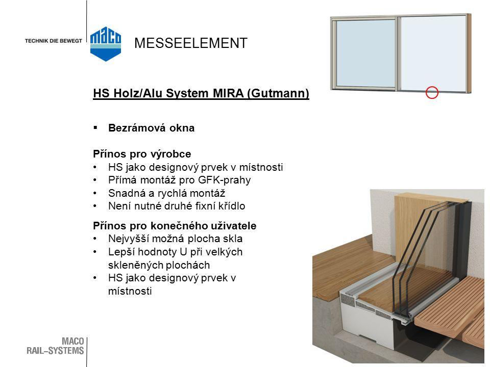  Bezrámová okna Přínos pro výrobce HS jako designový prvek v místnosti Přímá montáž pro GFK-prahy Snadná a rychlá montáž Není nutné druhé fixní křídlo Přínos pro konečného uživatele Nejvyšší možná plocha skla Lepší hodnoty U při velkých skleněných plochách HS jako designový prvek v místnosti HS Holz/Alu System MIRA (Gutmann) MESSEELEMENT