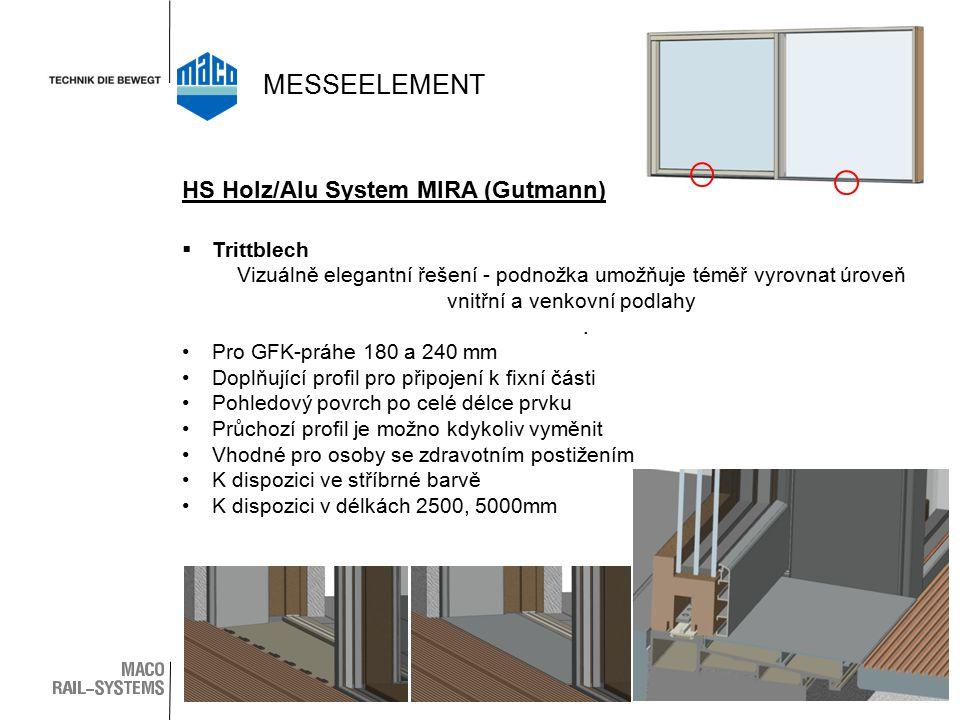  Trittblech Vizuálně elegantní řešení - podnožka umožňuje téměř vyrovnat úroveň vnitřní a venkovní podlahy. Pro GFK-práhe 180 a 240 mm Doplňující pro