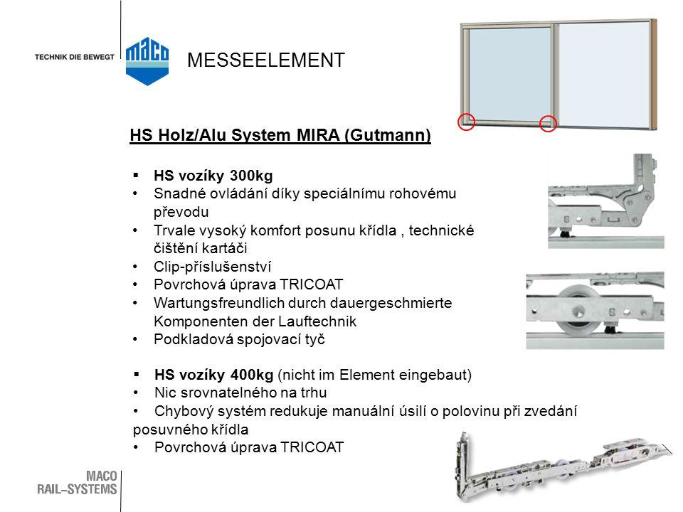 HS Holz/Alu System MIRA (Gutmann)  HS vozíky 300kg Snadné ovládání díky speciálnímu rohovému převodu Trvale vysoký komfort posunu křídla, technické čištění kartáči Clip-příslušenství Povrchová úprava TRICOAT Wartungsfreundlich durch dauergeschmierte Komponenten der Lauftechnik Podkladová spojovací tyč  HS vozíky 400kg (nicht im Element eingebaut) Nic srovnatelného na trhu Chybový systém redukuje manuální úsilí o polovinu při zvedání posuvného křídla Povrchová úprava TRICOAT MESSEELEMENT