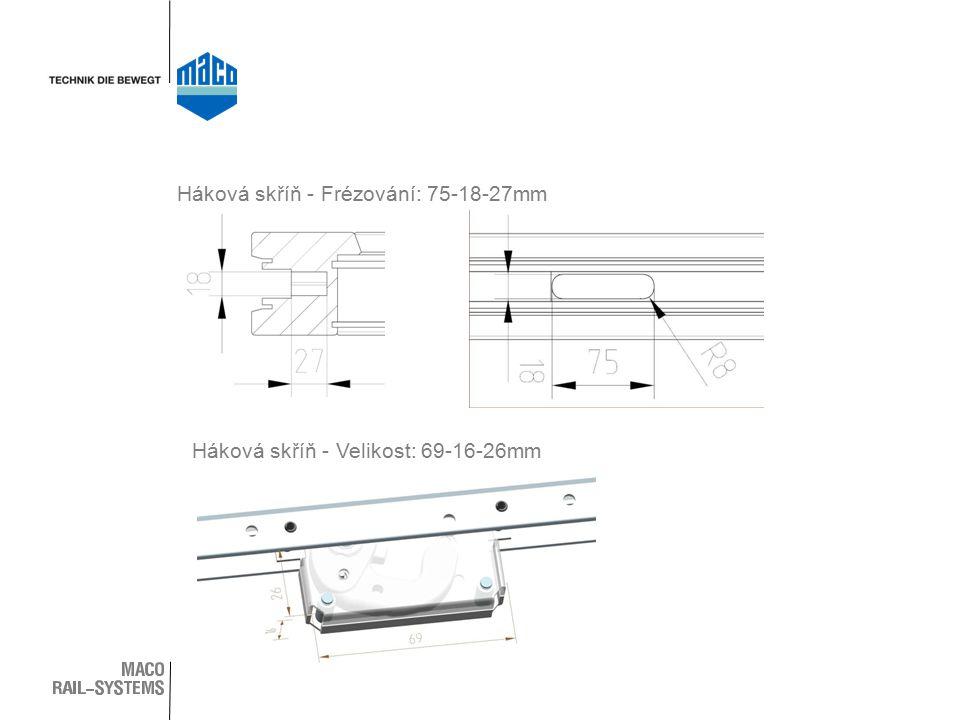 Háková skříň - Frézování: 75-18-27mm Háková skříň - Velikost: 69-16-26mm