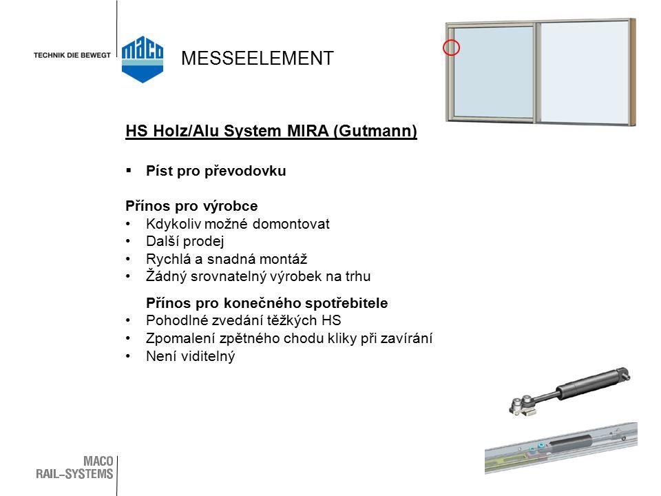  Píst pro převodovku Přínos pro výrobce Kdykoliv možné domontovat Další prodej Rychlá a snadná montáž Žádný srovnatelný výrobek na trhu Přínos pro konečného spotřebitele Pohodlné zvedání těžkých HS Zpomalení zpětného chodu kliky při zavírání Není viditelný HS Holz/Alu System MIRA (Gutmann) MESSEELEMENT
