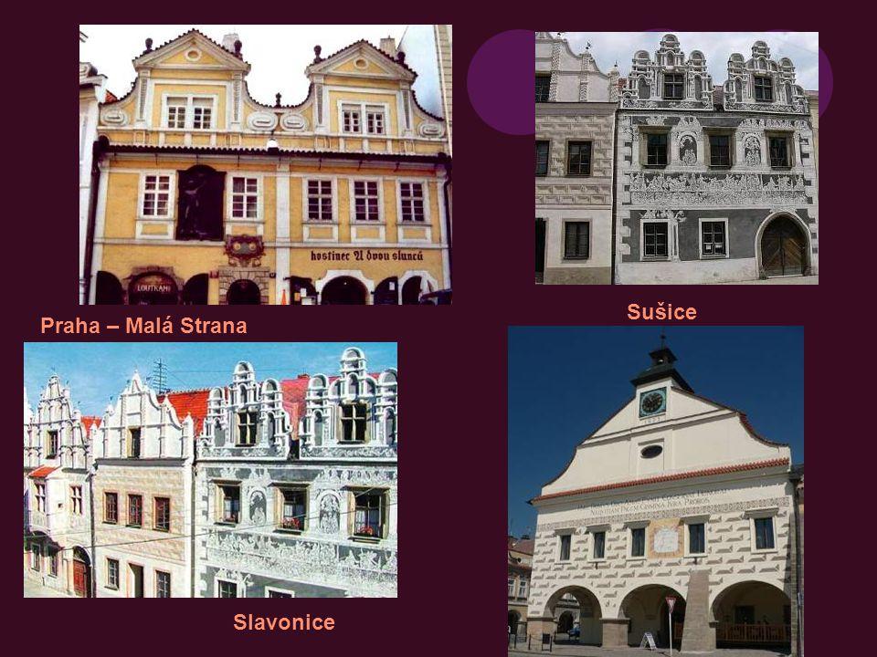 okna, dveře, věžičky jsou pravidelné Červená Lhota