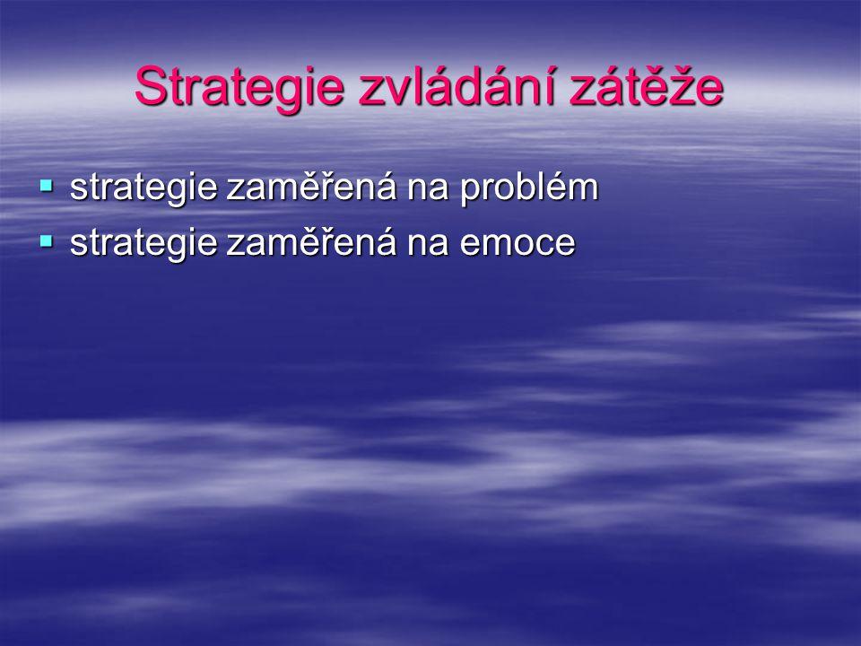Strategie zvládání zátěže  strategie zaměřená na problém  strategie zaměřená na emoce