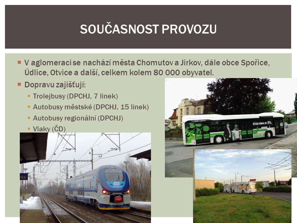 Chomutov – autobusy LD  Chomutov město – trolejbusy a autobusy MHD  Jirkov zastávka – autobusy LD a MHD  Jirkov – nemá návaznost SOUČASNÉ PŘESTUPNÍ UZLY