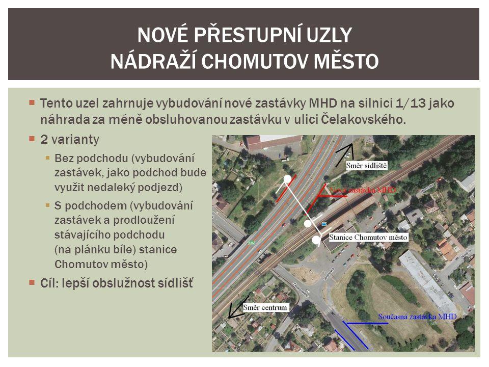  Tento uzel zahrnuje vybudování nové zastávky MHD na silnici 1/13 jako náhrada za méně obsluhovanou zastávku v ulici Čelakovského.  2 varianty  Bez