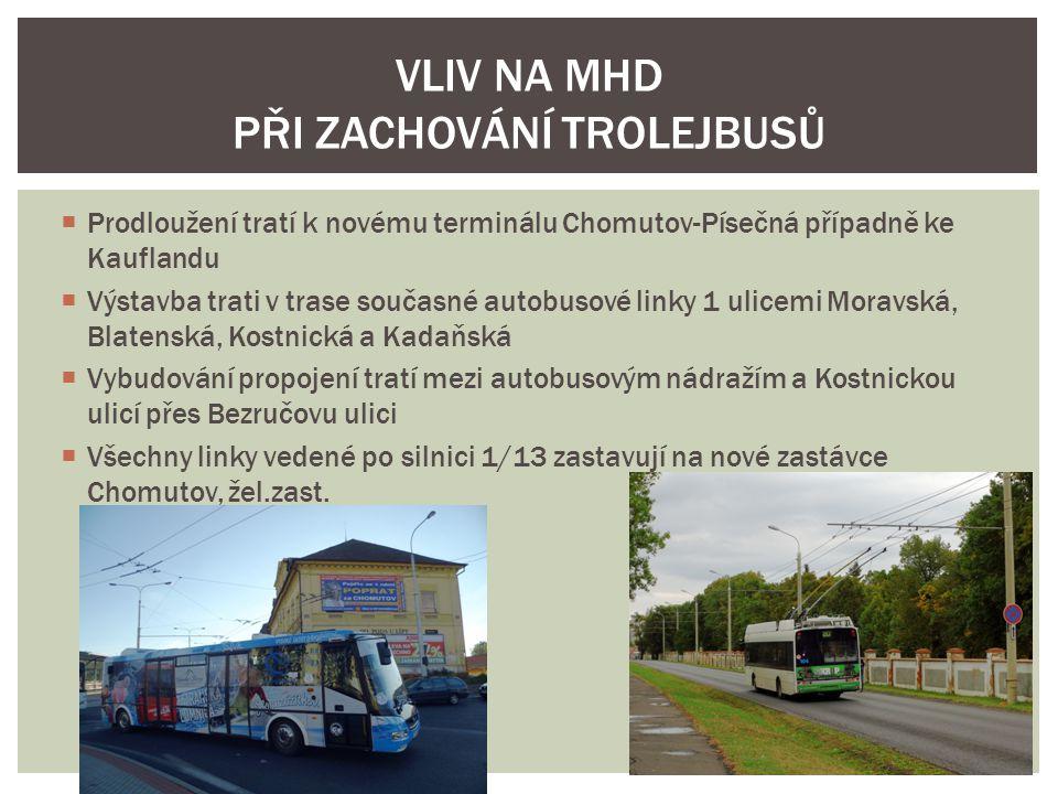  Prodloužení tratí k novému terminálu Chomutov-Písečná případně ke Kauflandu  Výstavba trati v trase současné autobusové linky 1 ulicemi Moravská, B