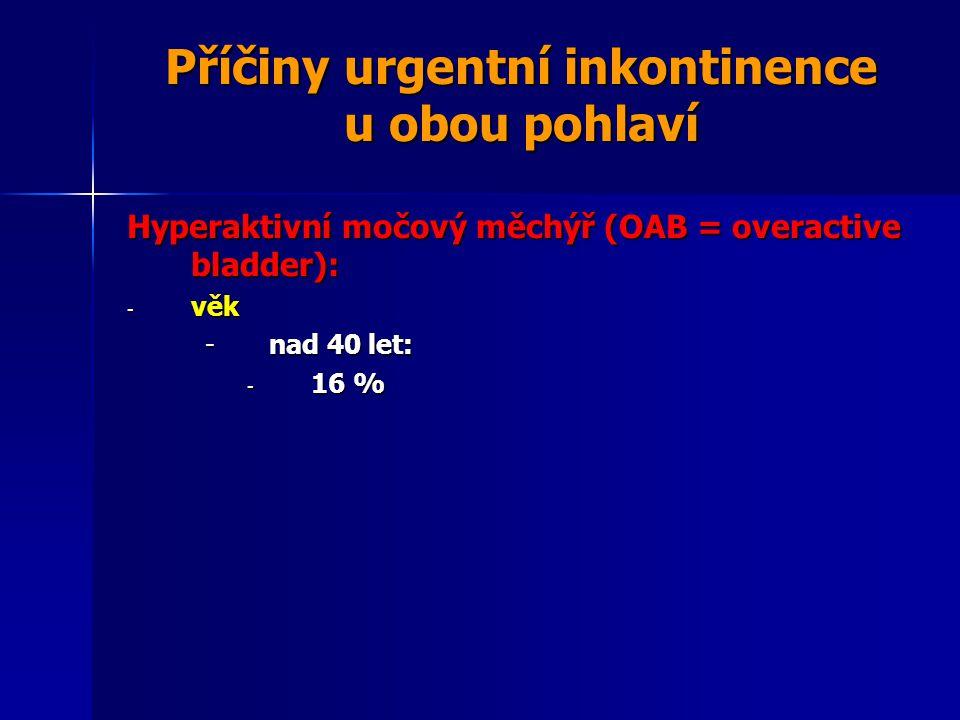 Příčiny urgentní inkontinence u obou pohlaví Hyperaktivní močový měchýř (OAB = overactive bladder): - věk -nad 40 let: - 16 %