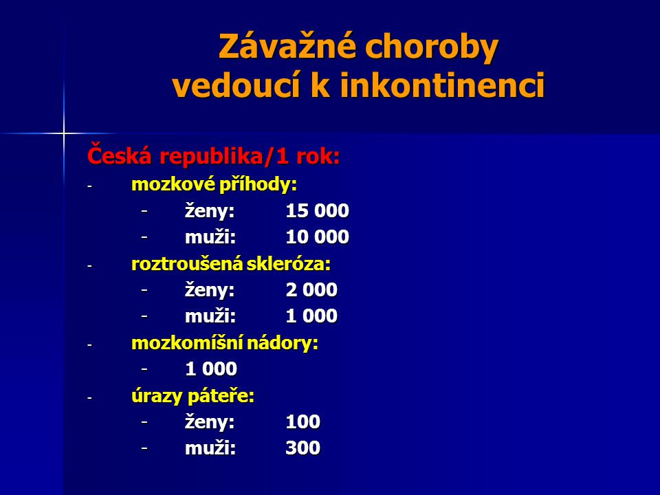 Závažné choroby vedoucí k inkontinenci Česká republika/1 rok: - mozkové příhody: -ženy:15 000 -muži:10 000 - roztroušená skleróza: -ženy:2 000 -muži:1 000 - mozkomíšní nádory: -1 000 - úrazy páteře: -ženy:100 -muži:300