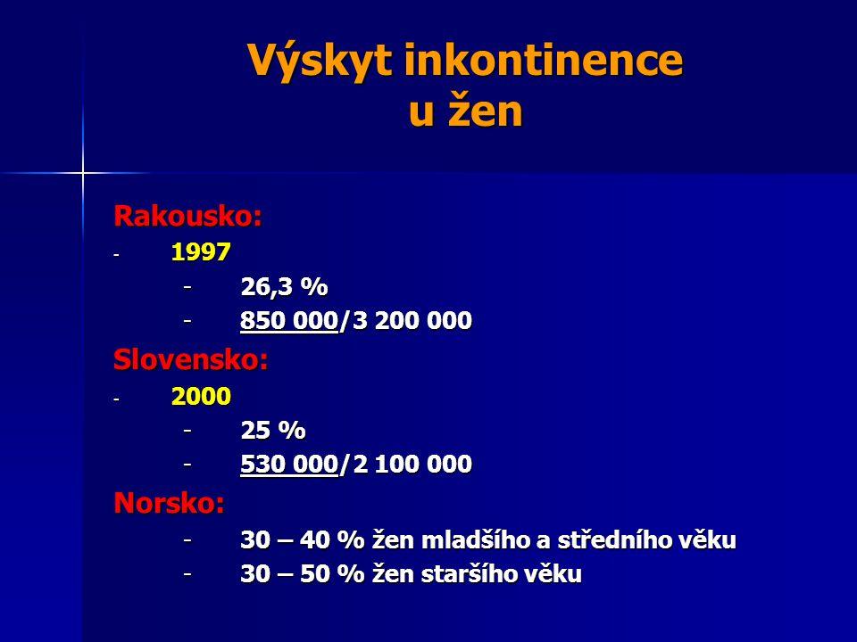 Výskyt inkontinence u žen Rakousko: - 1997 -26,3 % -850 000/3 200 000 Slovensko: - 2000 -25 % -530 000/2 100 000 Norsko: -30 – 40 % žen mladšího a středního věku -30 – 50 % žen staršího věku