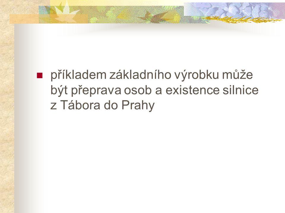 příkladem základního výrobku může být přeprava osob a existence silnice z Tábora do Prahy