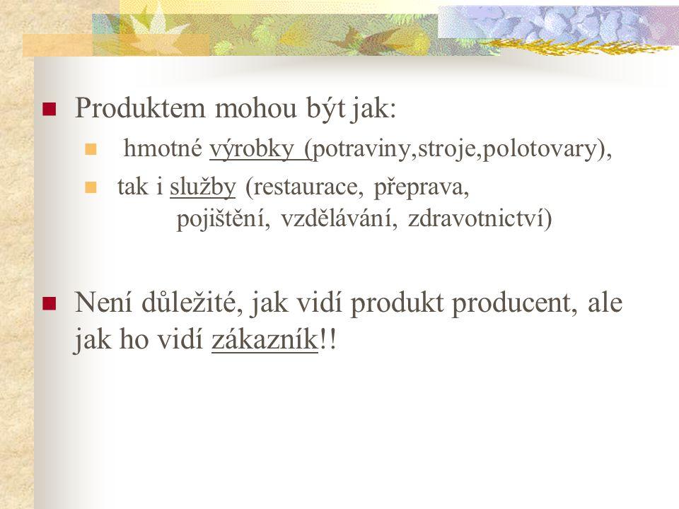 Produktem mohou být jak: hmotné výrobky (potraviny,stroje,polotovary), tak i služby (restaurace, přeprava, pojištění, vzdělávání, zdravotnictví) Není
