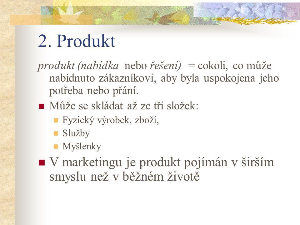 2. Produkt produkt (nabídka nebo řešení) = cokoli, co může nabídnuto zákazníkovi, aby byla uspokojena jeho potřeba nebo přání. Může se skládat až ze t