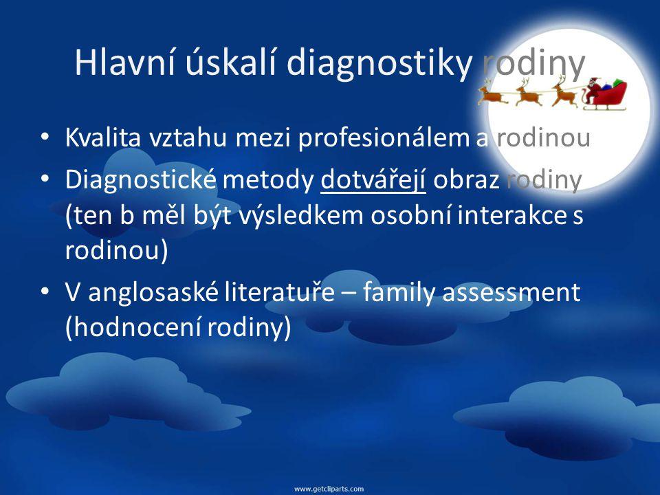 Kategorie pro diagnostiku (Weber, Levine, 1995 in Sobotková) Údaje o jedincích Zdravotní údaje Vývojové údaje (rodinný životní cyklus) Strukturální údaje (role, pravidla, hranice, koalice, konflikty, rozchody, vzorce rod.