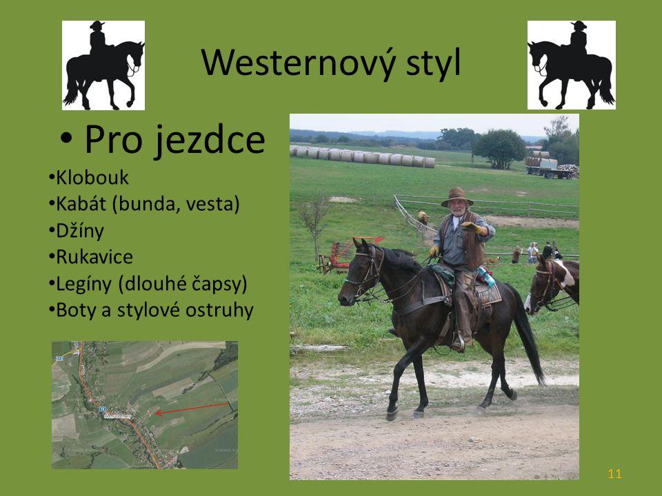 Westernový styl Pro jezdce Klobouk Kabát (bunda, vesta) Džíny Rukavice Legíny (dlouhé čapsy) Boty a stylové ostruhy 11