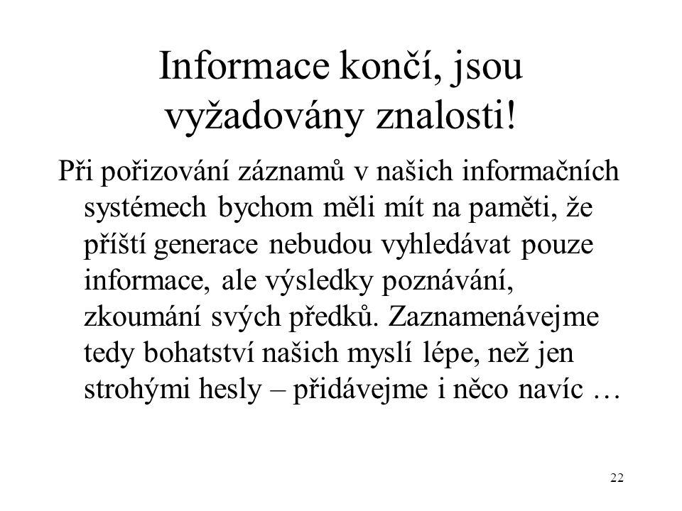 22 Informace končí, jsou vyžadovány znalosti.