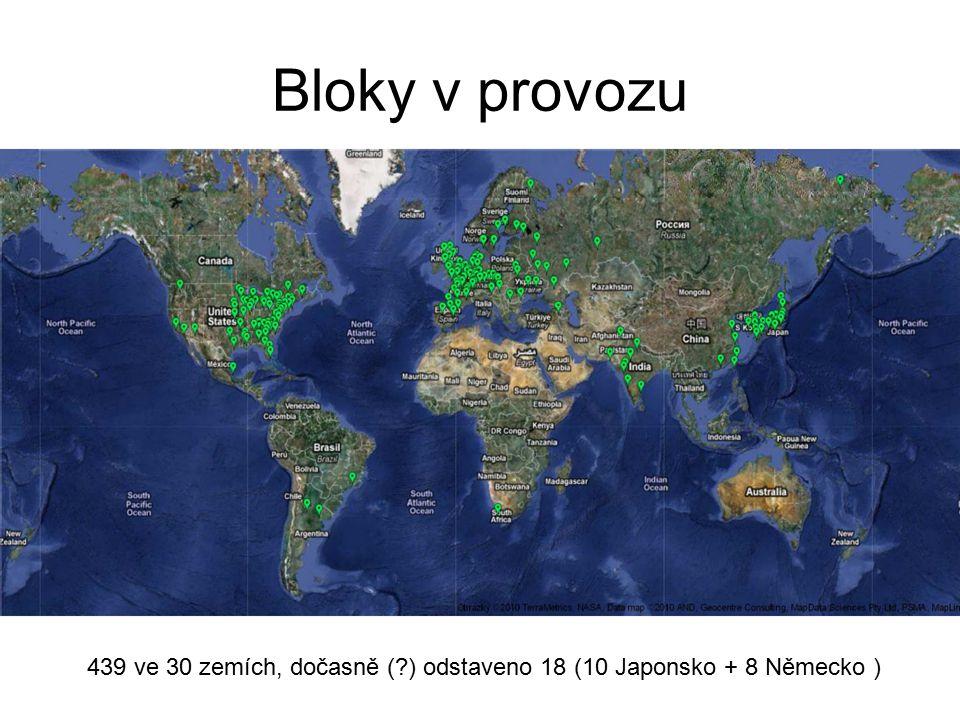Bloky v provozu 439 ve 30 zemích, dočasně ( ) odstaveno 18 (10 Japonsko + 8 Německo )