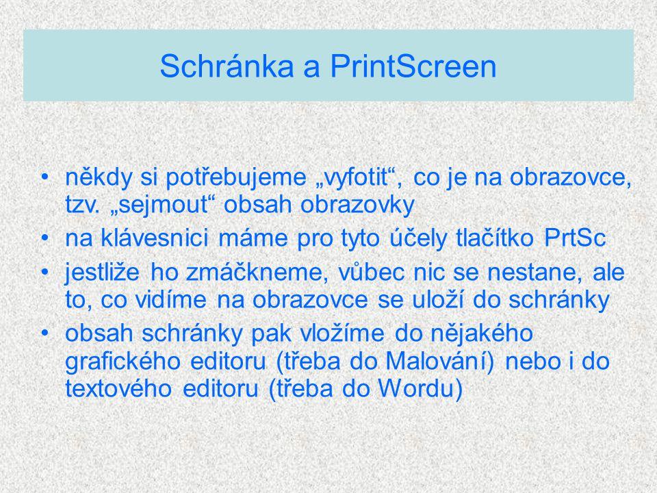 """Schránka a PrintScreen někdy si potřebujeme """"vyfotit"""", co je na obrazovce, tzv. """"sejmout"""" obsah obrazovky na klávesnici máme pro tyto účely tlačítko P"""