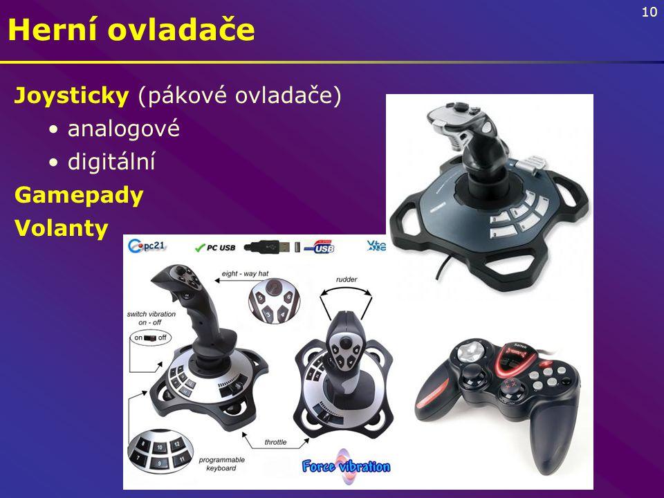 10 Herní ovladače Joysticky (pákové ovladače) analogové digitální Gamepady Volanty