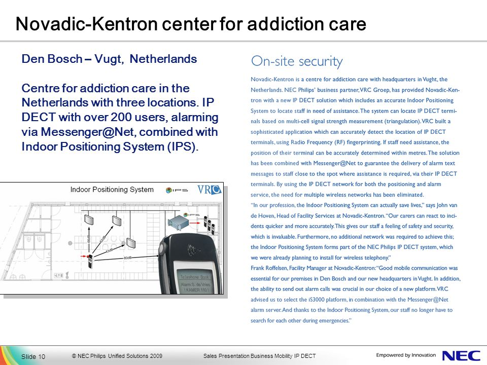 Sales Presentation Business Mobility IP DECT Novadic-Kentron center for addiction care Den Bosch – Vugt, Netherlands Centre for addiction care in the