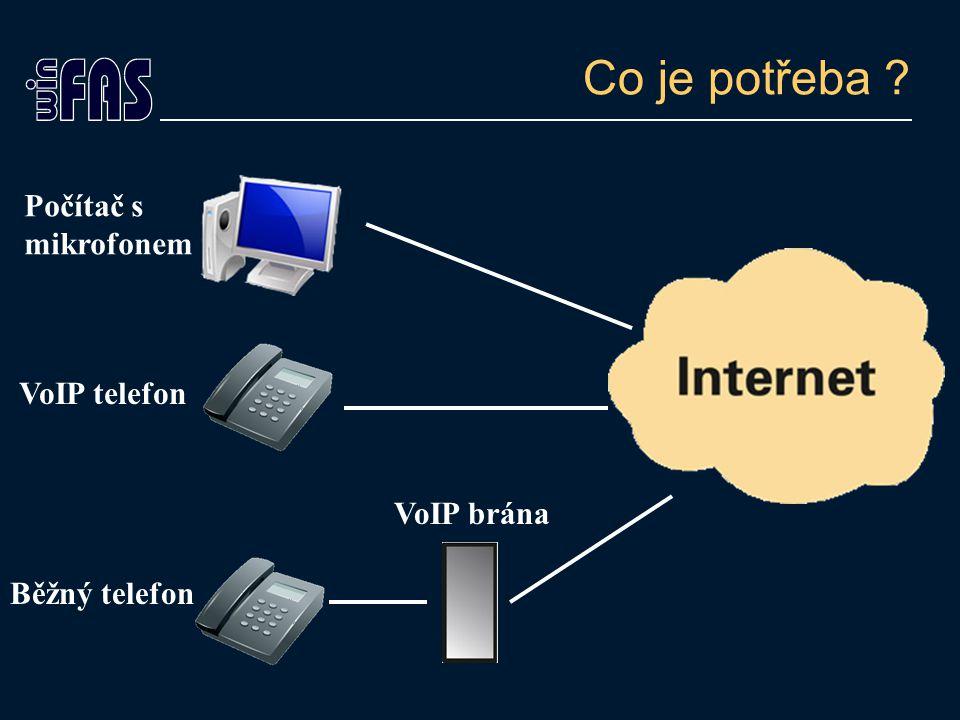 Co je potřeba ? Počítač s mikrofonem VoIP telefon Běžný telefon VoIP brána