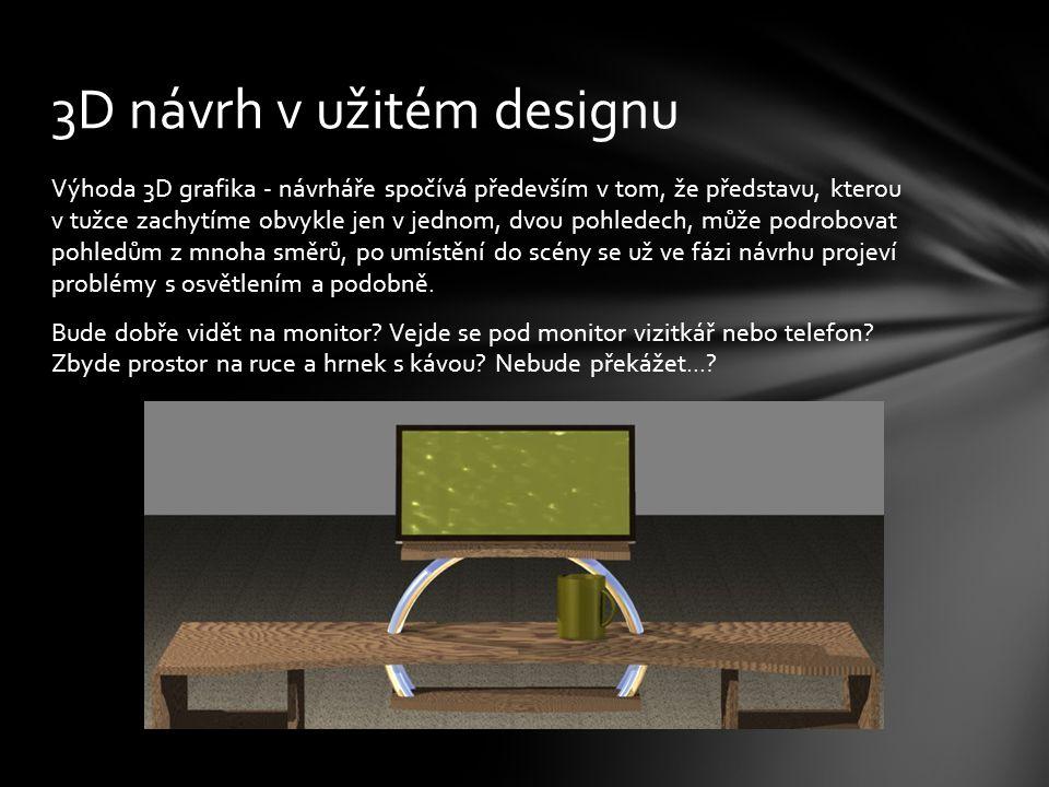 Výhoda 3D grafika - návrháře spočívá především v tom, že představu, kterou v tužce zachytíme obvykle jen v jednom, dvou pohledech, může podrobovat pohledům z mnoha směrů, po umístění do scény se už ve fázi návrhu projeví problémy s osvětlením a podobně.