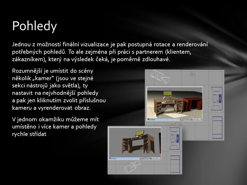 Jednou z možností finální vizualizace je pak postupná rotace a renderování potřebných pohledů.