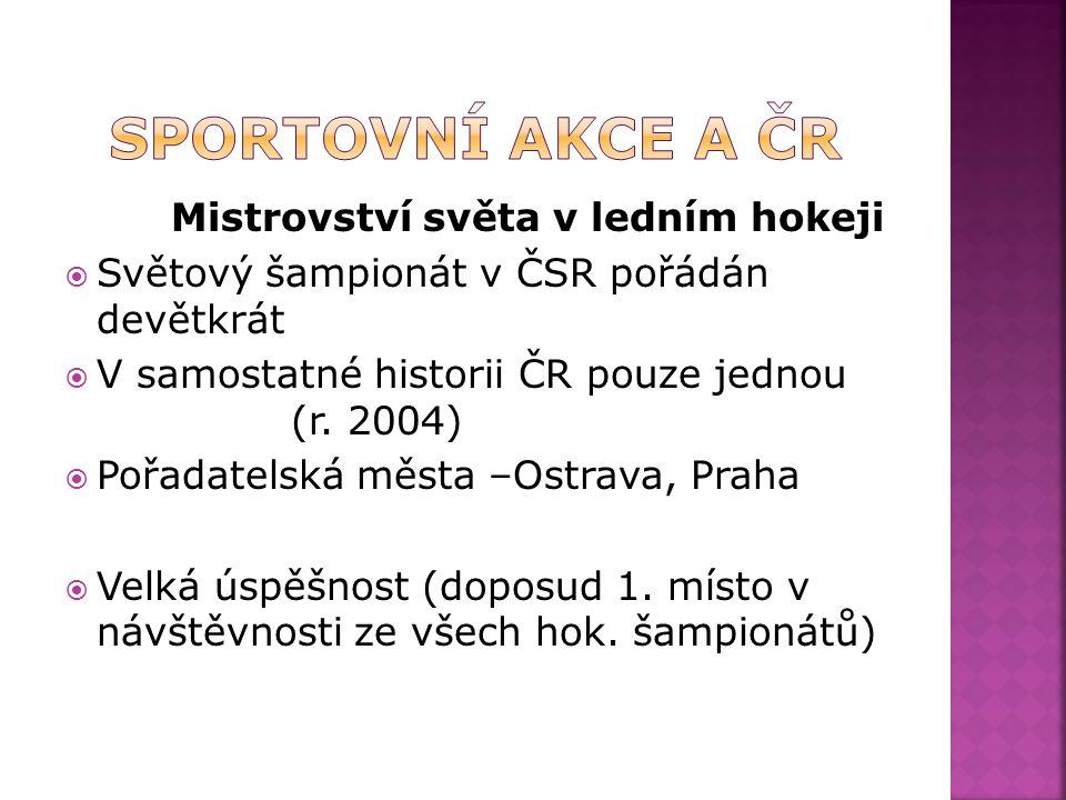 Mistrovství světa v ledním hokeji  Světový šampionát v ČSR pořádán devětkrát  V samostatné historii ČR pouze jednou (r.