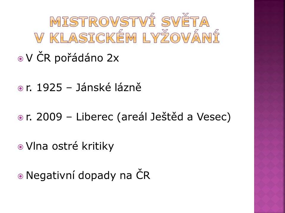  V ČR pořádáno 2x  r. 1925 – Jánské lázně  r.