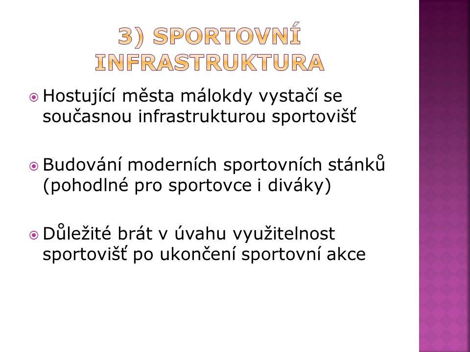  Hostující města málokdy vystačí se současnou infrastrukturou sportovišť  Budování moderních sportovních stánků (pohodlné pro sportovce i diváky)  Důležité brát v úvahu využitelnost sportovišť po ukončení sportovní akce