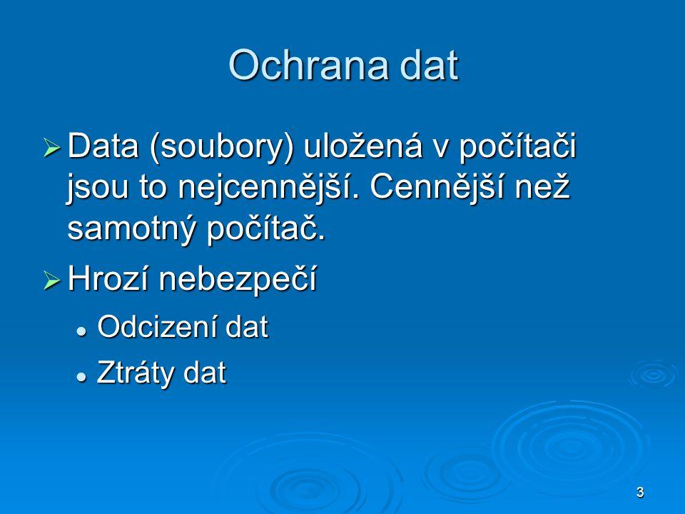 3 Ochrana dat  Data (soubory) uložená v počítači jsou to nejcennější.