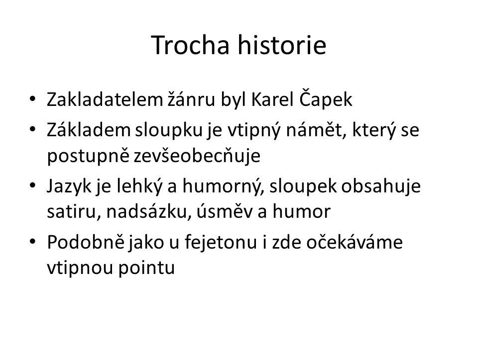 Trocha historie Zakladatelem žánru byl Karel Čapek Základem sloupku je vtipný námět, který se postupně zevšeobecňuje Jazyk je lehký a humorný, sloupek