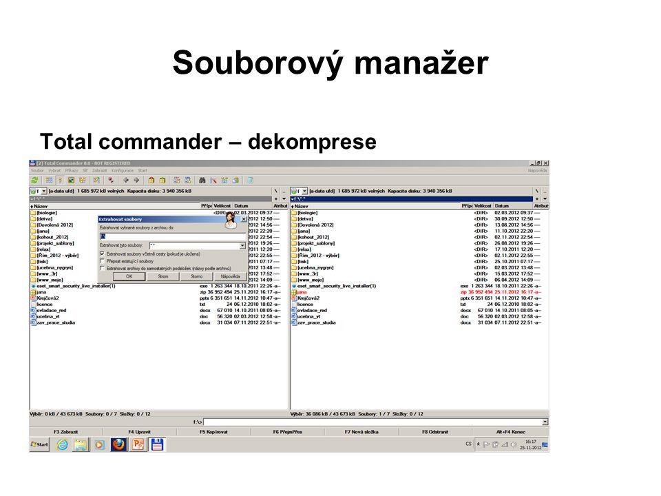 Souborový manažer Total commander – dekomprese