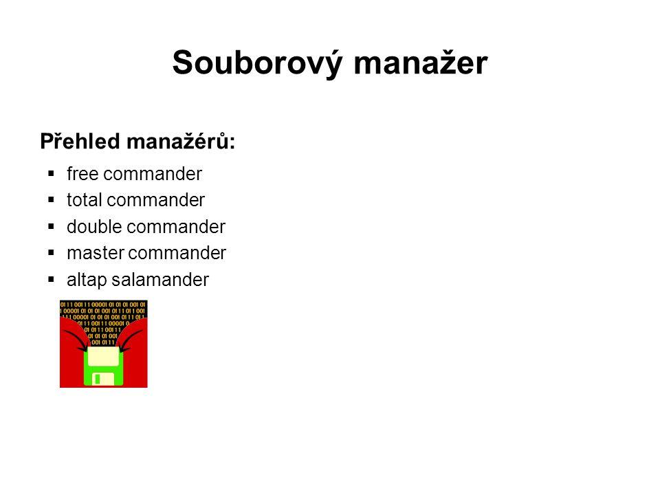 Souborový manažer Total commander  patří do skupiny sharewaru  instalaci zvládne úplný začátečník (volba jazyka a umístění)  omezení (po 30 dnech) – číslice při každém spuštění