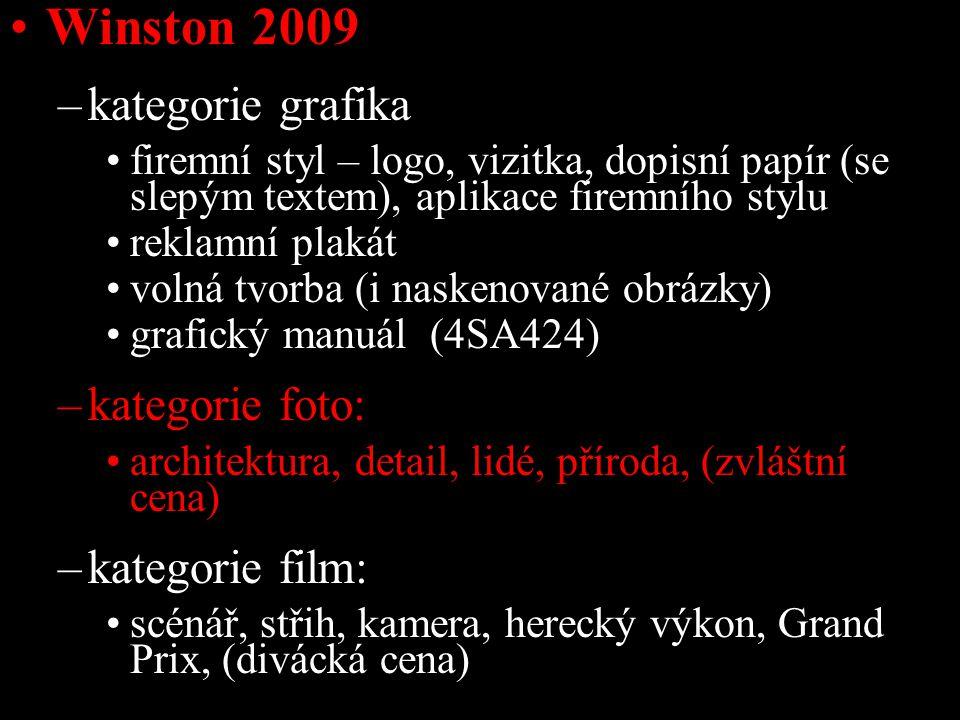Winston 2009 –kategorie grafika firemní styl – logo, vizitka, dopisní papír (se slepým textem), aplikace firemního stylu reklamní plakát volná tvorba (i naskenované obrázky) grafický manuál (4SA424) –kategorie foto: architektura, detail, lidé, příroda, (zvláštní cena) –kategorie film: scénář, střih, kamera, herecký výkon, Grand Prix, (divácká cena)