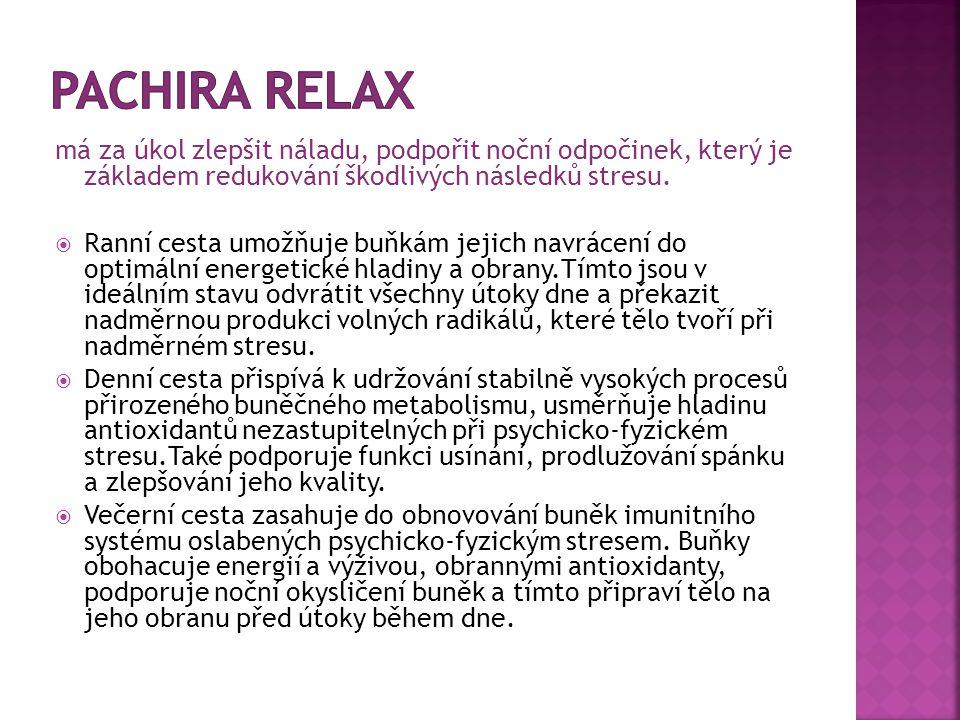 má za úkol zlepšit náladu, podpořit noční odpočinek, který je základem redukování škodlivých následků stresu.  Ranní cesta umožňuje buňkám jejich nav