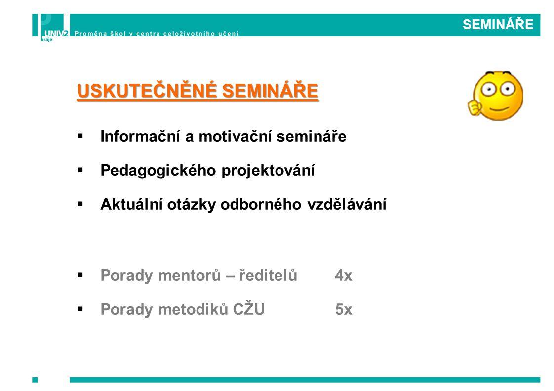 SEMINÁŘE USKUTEČNĚNÉ SEMINÁŘE IInformační a motivační semináře PPedagogického projektování AAktuální otázky odborného vzdělávání PPorady mentorů – ředitelů4x PPorady metodiků CŽU5x