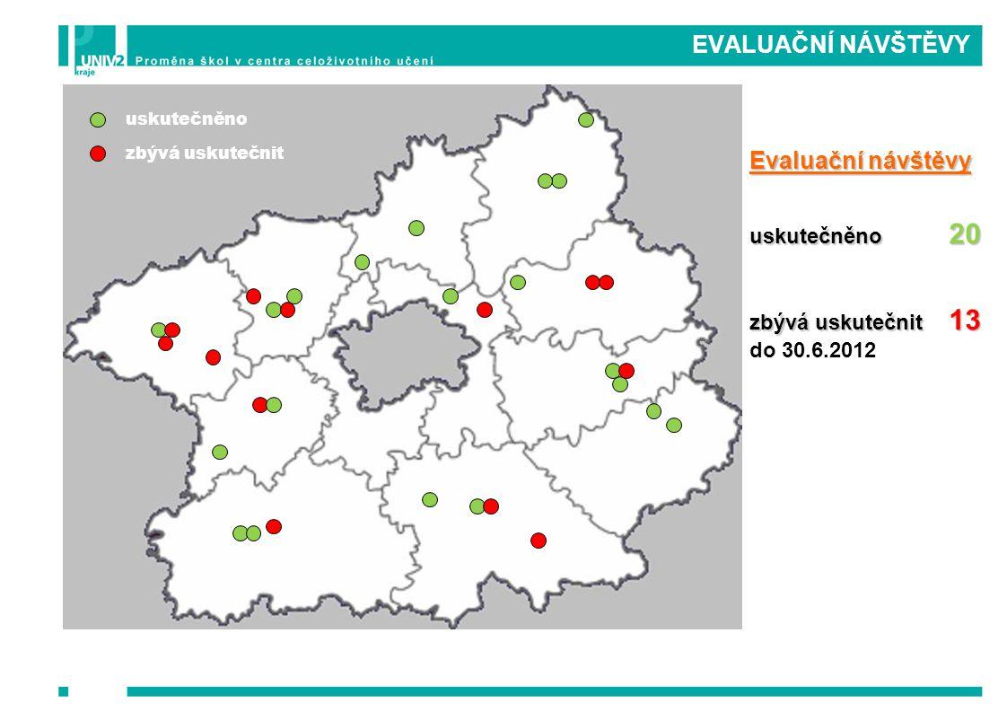 EVALUAČNÍ NÁVŠTĚVY Evaluační návštěvy uskutečněno 20 zbývá uskutečnit 13 do 30.6.2012 uskutečněno zbývá uskutečnit