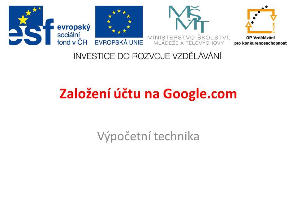 Založení účtu na Google.com Výpočetní technika