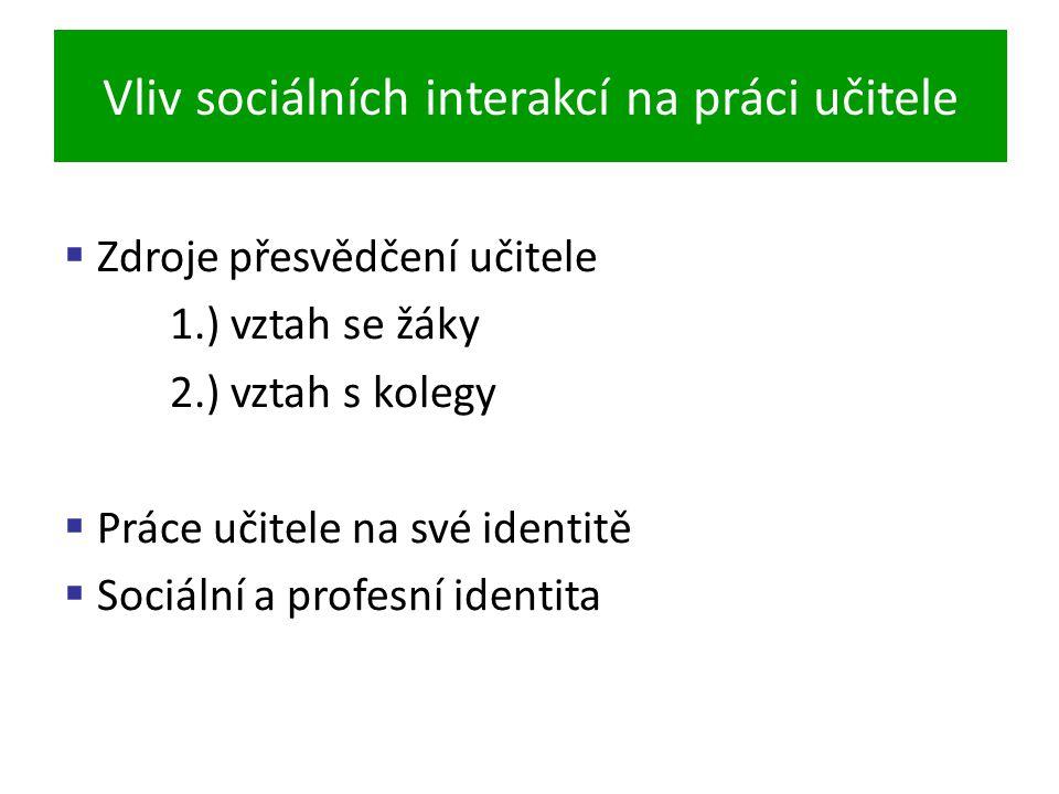 Vliv sociálních interakcí na práci učitele  Zdroje přesvědčení učitele 1.) vztah se žáky 2.) vztah s kolegy  Práce učitele na své identitě  Sociální a profesní identita