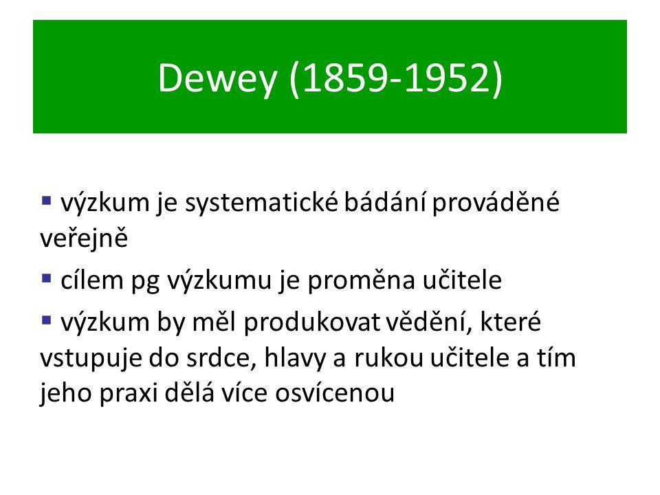 Dewey (1859-1952)  výzkum je systematické bádání prováděné veřejně  cílem pg výzkumu je proměna učitele  výzkum by měl produkovat vědění, které vstupuje do srdce, hlavy a rukou učitele a tím jeho praxi dělá více osvícenou