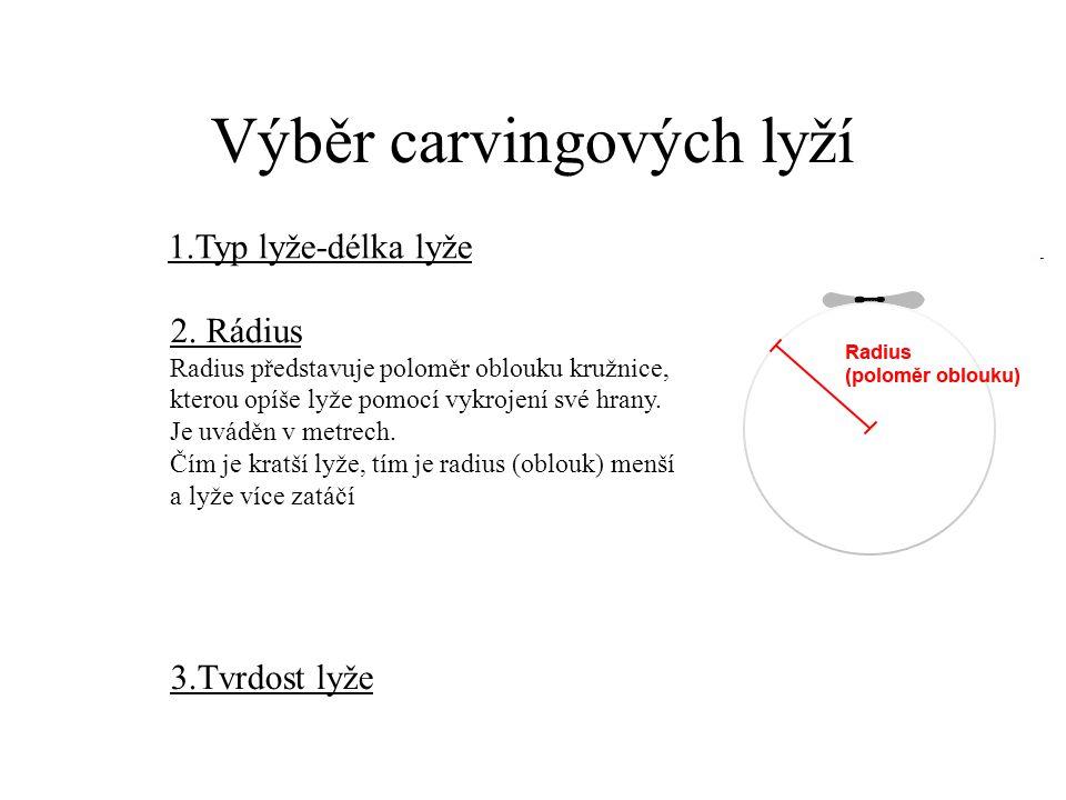 Výběr carvingových lyží 1.Typ lyže-délka lyže 2. Rádius Radius představuje poloměr oblouku kružnice, kterou opíše lyže pomocí vykrojení své hrany. Je