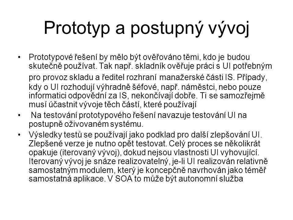 Prototyp a postupný vývoj Prototypové řešení by mělo být ověřováno těmi, kdo je budou skutečně používat. Tak např. skladník ověřuje práci s UI potřebn